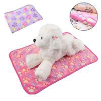 Warm Pet Mat L Paw Print Cat Dog Puppy Coral Fleece Blanket Bed Cushion AU C5J7