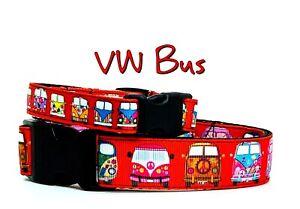 "VW Bus dog collar handmade  adjustable buckle collar 1"" or 5/8"" wide or leash"