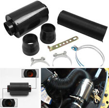 Racing Car Carbon Fiber Air Filter Box w/ Pipes Cold Air Intake System Kit Black