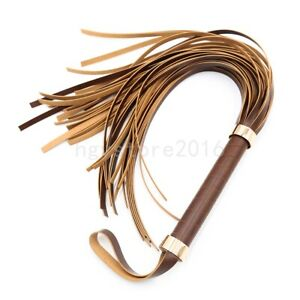 Faxu Leather Whip Flogger Handle Horse Riding Tassels Restraints Adult Foreplay