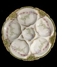 Haviland Pink Rose/ Blue Bow/ Gold Border, 5 Well Oyster Plate