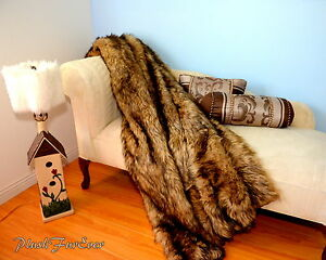 """60"""" 72"""" 84"""" Black Tip Wolf Exotic Animal Skin Sofa Couch Bed Blankets Throws NEW"""