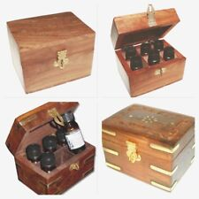 Hand Carved Wooden Essential Oil Box Holds 6 Aromatherapy Lipstick Organiser