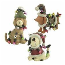 Set of 3 Novelty Christmas Dog Lover Ornaments Decoration Resin Assorted Animal