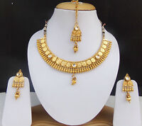 Indian Ethnic Bollywood Gold Plated Fashion Jewelry kUNDAN Necklace Earrings Set