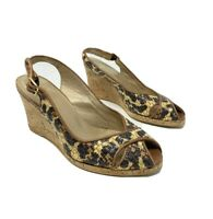 Stuart Weitzman Brown Straw Peep-toe wedge cork sandals Size 8 open toe
