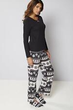 Pyjamas and Matching Slippers Gift Set Black Fairisle Size XL SA170 AG 01