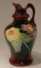 Majolica Pottery Nouveau Pitcher Red Blue, Yellow Pink Flowers  Strnact? Steidl?