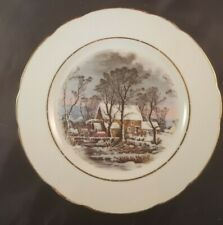 """1977 Currier & Ives The Old Grist Mill Avon Sales Rep Award 8"""" Plate Gold edge"""