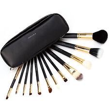Fraulein3°8 Set 12 Brochas Pinceles Profesional de Maquillaje Estuche con Cierre