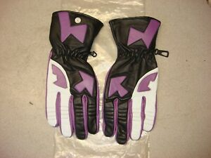 PURPLE WHITE BLACK LEATHER ROAD RACE RIDING GLOVES SMALL AHRMA VINTAGE NINJA