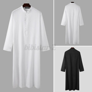 US STOCK Mens Muslim Clothing Long Sleeve Jubba Saudi Abaya Kaftan Formal Robe