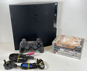 Sony PlayStation 3 Slim Console 160 GB Black CECH-2503A Cables Controller Games