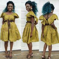 Women Summer African veroex pleated waist ankara dress with side pockets all siz
