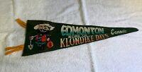 """Vintage Edmonton BC Klondike Days Felt Pennant Flag Travel Souvenir 17"""""""