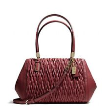 Coach Madison Gathered Twist Leather Small Madeline Satchel 25982 LI/Brick Red