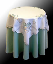 Green Cream Embroidered Dining Kitchen Tablecloth Bedside Topper Cutwork AN10