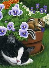 Tuxedo cat chipmunk garden flowers wildlife limited edition aceo print art