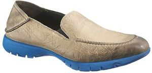 Hush Puppies FIVE BASE Stone/Blue Distressed Suede Leather Slip-on Loafer - $160