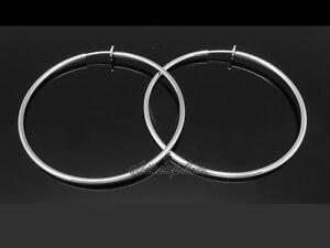Spring Silver CLIP ON Fake Piercing EXTRA LARGE Hoop Rings Earrings 6cm