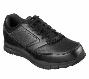 Mens Skechers 77156 Nampa Memory Foam Slip Resistant Black Work Shoes