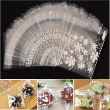100Pcs Snowflake Christmas Bags Cellophane Party Diy Cookies Candy Biscuit Bags