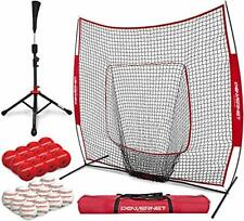 PowerNet 12 Practice Baseballs, 12 Crushers, 7x7 Hitting Net, Batting Tee Bundle
