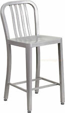 MID-CENTURY SILVER 'NAVY' STYLE COUNTER STOOL CAFE PATIO CHAIR IN/OUT COMMERCIAL