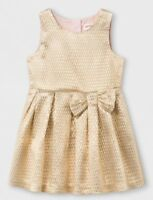 Girls Toddler Cat & Jack Short Sleeve A Line Dress Gold Size 3T (3140)