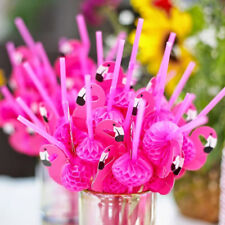 20PCS Plastic Pink Flamingo Drinking Straws Cocktail Party Tableware Decoration
