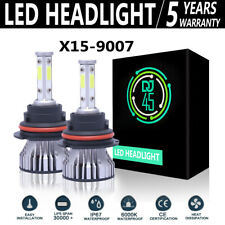2pcs 4 Sides 9007 Led Headlight Bulbs Kit 6000k White High Low Beam Light Bulb Fits Plymouth Breeze