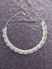 Vintage 1950s Coro Leaf Silver Tone Choker Necklace Signed