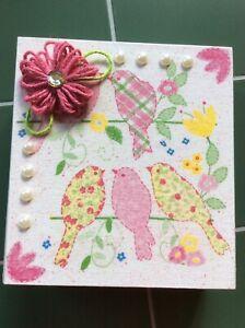 Jewelry/Trinket Box Wooden Decoupaged Splatter Painted Pink Birds