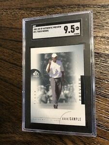 2001 SP Authentic Preview Sample Tiger Woods Rookie RC #21 SGC 9.5