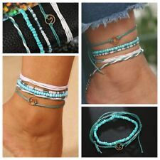 5Pcs Wave Hand-woven Rope Bracelet Anklet Thread Braided Wristband Jewelry Set