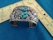 Silver Sterling Turquoise Cuff Bracelet Old Pawn American Southwest Signed Frank