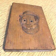 Vintage TRAMP ART hand-carved wooden plaque UPSIDE-DOWN MAN & WOMAN hobo carving