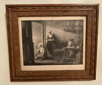 "Antiques Etching ""Nach Dem Strum""° Jozef Israels (1824-1911) Wood Framed Glass"