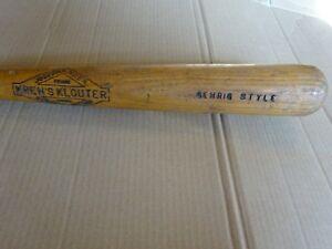"""Vintage 1930s Kren's Klouter Wood Baseball Bat Joseph Kren 33"""" Lou Gehrig Style"""