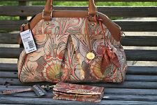NWT BRAHMIN LOUISE ROSE SUNSET BATIK BAG with ROSE TASSEL, WALLET & DUST BAG