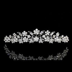 Handmade Bridal Floral Rhinestone Crystal Prom Wedding Crown Tiara 7975