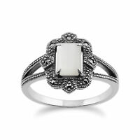 Gemondo 925 Sterling Silver Art Deco 1ct Mother of Pearl & Marcasite Ring