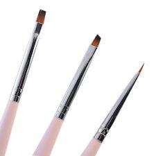 3Pcs/set SPAZZOLA PIATTA NAIL ART GEL UV Rosa Disegno Pittura Pennelli Pen Kit di strumenti