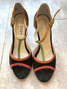 LOLO GERARD Black Suede Buenos Aires Tango Shoes Heels Pumps Designer 7.5