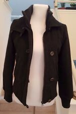 Latte by Coffeeshop Wool Cashmere Bomber Short Jacket, Size S, Gray