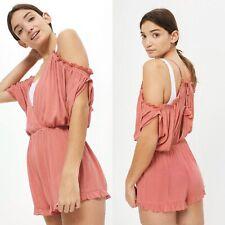 NEW - TOPSHOP COLD SHOULDER ROMPER PLAYSUIT blush Viscose Size MEDIUM Retail $52