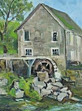 DAISY MARGUERITE HUGHES, Listed, New England House with Watermill, oil painting