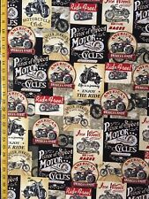 Packed Motorcycle Signs Colored & Grey Timeless Treasures Fabric FUN C8049