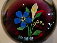 Vintage FRANCIS WHITTEMORE Glass Lampwork Flower & Calla Lily Paperweight