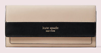 NWT Kate Spade New York- Spencer Slim Flap Wallet - Beige/Black
